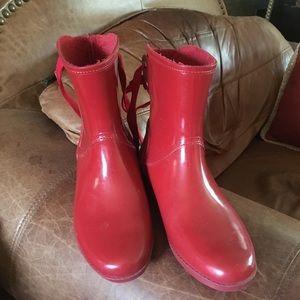 Michael Kors red rain boots
